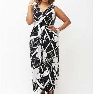 Lane Bryant black & white sexy maxi dress